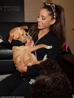 Ariana Grande with her pup backstage in NYC. via MailOnline