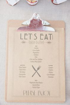 taco buffet reception menu, photo by Onelove Photography http://ruffledblog.com/1920s-inspired-ace-hotel-wedding #design #stationery #papergoods