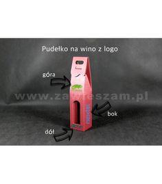 Kartonik na wino z logo. Kolor czerwony. Pudełko na wino produkowane w Polsce,wykonane z tektury.