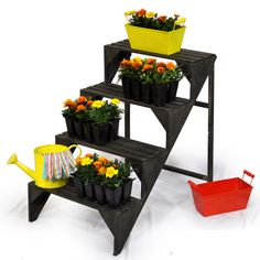 Wooden Four Step Plant Display Stand