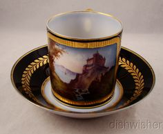 Antique Cobalt Gold Sevres France 18th Century Scenic Cup Saucer