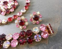 vintage pink parure jewlery sets   Vintage Red & Pink Rhinestone Grand Parure: Necklace Bracelet Brooch ...