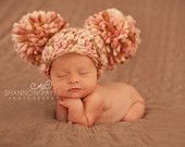 Baby Girl Pom Pom Hat ,Pompoms, Pink,Brown,Cream, Crochet ,Newborn Hat, Photo Prop,Ready to Ship