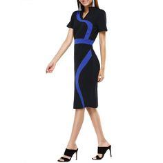 Stand Collar Color Block Midi  Dress