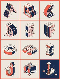 36 Days of Type is a project that invites Designers, Illustrators and Graphic Artists to express their particular view on letters and numbers of our alphabet. 36 days of restless creativity, where participants are challenged to design a letter or number& Graffiti Lettering Fonts, Typography Alphabet, Typography Layout, Lettering Design, Logo Design, Isometric Art, Isometric Design, Christmas Typography, 36 Days Of Type
