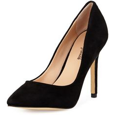 Neiman Marcus Prestige Suede Pointed-Toe Pump ($50) ❤ liked on Polyvore featuring shoes, pumps, black, suede pointy toe pumps, black slip on shoes, suede pointed toe pumps, black pointed-toe pumps and black high heel pumps