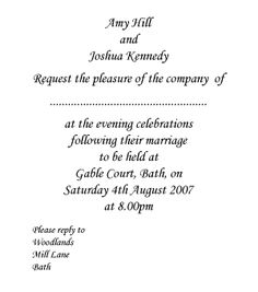 Evening Invitation Wording From Bride & Groom