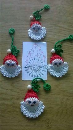 Image detail for -Santa Crochet Doily Centrinho Papai Noel 4 pinkrosecrochet. Crochet Christmas Decorations, Crochet Ornaments, Christmas Crochet Patterns, Holiday Crochet, Crochet Snowflakes, Christmas Crafts, Father Christmas, Christmas Christmas, Christmas Applique