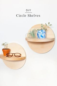 DIY Wood Circle Shelves. An easy wooden shelf tutorial for a minimal home decor idea! A very Scandinavian design idea to fill a blank space on a wall in a bedroom, living room, or anywhere else in the house!