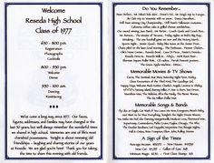 High School Reunion Program