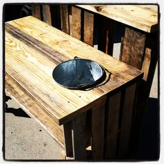 Here are a few pics of my Pallet Bars I've created. I like to add galvanized buckets and trays for beverage chilling along with wine glass racks. They also look great with flowers planted in them as well.    More information at  Whimsical-WillyCDBG-Designs Facebook page ! Idea sent by Aaric... #Bar, #Pallets, #Stool