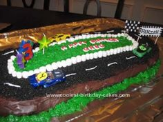 Homemade Race Car Track Cake: My son was very into Cars the movie around his 3rd birthday so I ran with that theme and created this Homemade Race Car Track Cake. I started off with