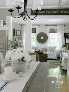 Our House - Rooms For Rent blog White curtains and roll up wood blinds for dining room