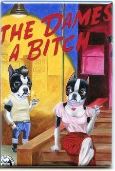 Boston terrier paper back book cover dog art by rubenacker on Etsy, $4.25