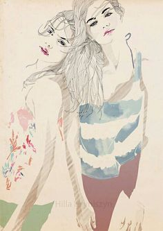 Drawing of two girls