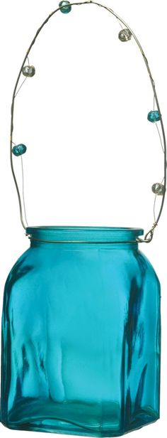 Turquoise Blue Tansy Hanging Candle Holder and Vase by TaaraBazaar