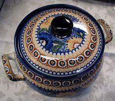 Polish Sroneware Pottery casserole