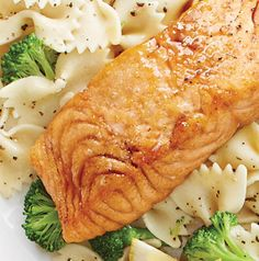 Perfect for a date night dinner for 2 at home, but Honey Ginger Salmon with Broccoli and Bow Ties also works for a quick weeknight dinner for 4. Just double the recipe.