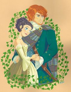 """flouchou: """" I decided to post the scan version of the paintings I've done this year ^^ Here is the fanart of Outlander, done for the birthday of my friend Beatrice """""""