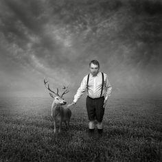 Michal Giedrojc - dreams series #creativephotography #creative #photo #photography #surreal #fineart #art #dark #sepia #photomontage #animal #deer