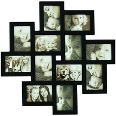 Adeco Trading 12 Opening Decorative Wood Photo Collage Wall Hanging Picture Frame