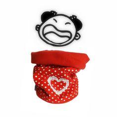 Snood enfant, tour de cou chaud et moelleux ,reversible, rouge et coeur, pour un hiver bien protégé. : Mode filles par kore-and-co