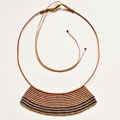Macrame necklace with leather and brass beads  by TheDancingCord