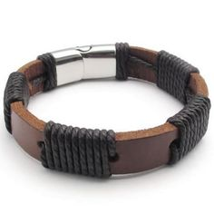 """Cheap bracelet supplies, Buy Quality clasp beads directly from China clasps wholesale Suppliers:PRODUCT ID: AB21METAL:Genuine Leather & Stainless SteelCOLOR:Brown & SilverSIZE: L: 8"""", W:12mm"""