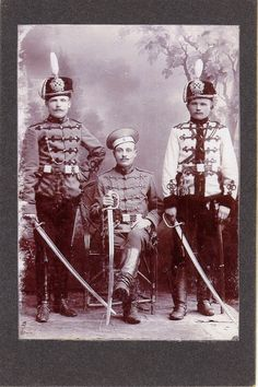 Group photo of three officers of the Imperial Russian Elisavetgradskiy Hussar Regiment.