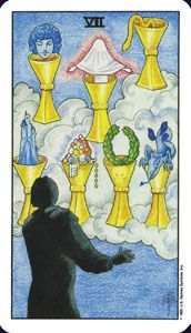 How to read the 7 seven of  cups card in the minor arcana of the rider waite tarot