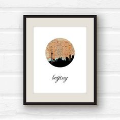 Beijing print  Beijing China  China map  China by PaperFinchDesign, $10.00