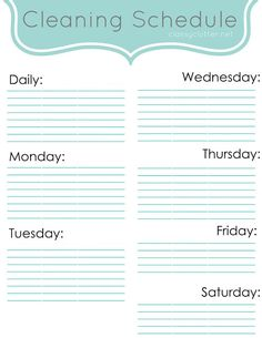 Create your own cleaning schedule! Here is a blank cleaning schedule printable - link has tons of ideas on what to do each day! #cleaning #schedule #printable