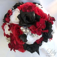 17pcs Wedding Bridal Bouquet Set Decoration by LilyOfAngeles