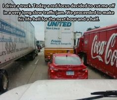 Why you should never cut off a truck…