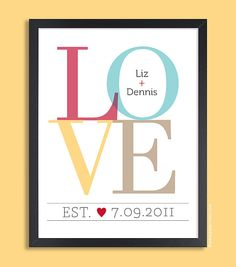 LOVE Personalized Valentines Day Gift, Couple Wall Print  11x14, wedding gift, engagement gift