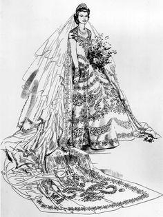 Norman Hartnell - Robe de Mariée - Princesse Elizabeth - 1947 - Croquis Queen Wedding Dress, Royal Wedding Gowns, Royal Weddings, Wedding Dresses, Country Weddings, Lace Weddings, Bridesmaid Dresses, Norman Hartnell, Helen Rose