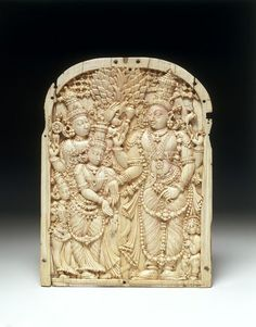 Marriage of Shiva and Parvati Object: Relief Place of origin: Madurai (made) Date: Dated by inscription 1766 (made) Artist/Maker: Unknown Materials and Techniques: Carved ivory, with traces of tamarind juice Madurai, Hindu Deities, Ivoire, Stone Carving, Bronze Sculpture, Shiva, Metal Art, Sculptures, Marriage
