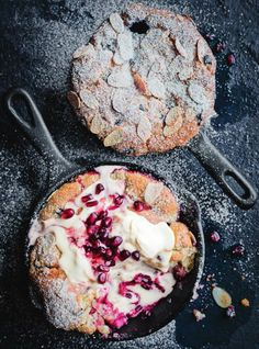 rhubarb pomegranate vanilla cobblers  |  Donna Hay Magazine  |  https://www.donnahay.com.au/recipes/desserts-and-baking/rhubarb-pomegranate-and-vanilla-cobblers