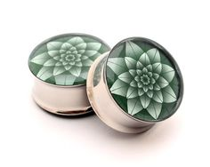 Green Lotus Picture Plugs gauges - 16g, 14g, 12g, 10g, 8g, 6g, 4g, 2g, 0g, 00g, 7/16, 1/2, 9/16, 5/8, 3/4, 7/8, 1 inch on Etsy, $17.99