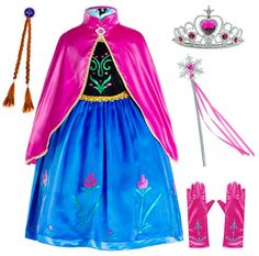 TENU 4 Pieces Fur Princess Hooded Cape Cloaks Costume for Girls Princess Costumes Party Dress Up Accessories