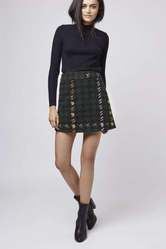 Topshop - PETITE High-Waisted Check A-Line Skirt