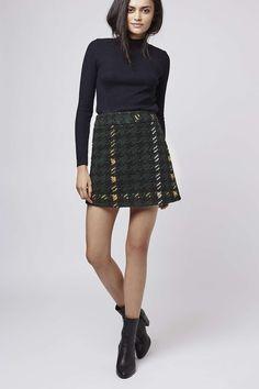 Topshop - PETITE High-Waisted Check A-Line Skirt