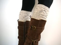 Oatmeal knit boot socks boot cuffs boot toppers leg warmers () by craftasta