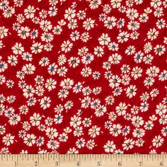 Summer Days Daisies Red from @fabricdotcom  Designed by Kaye England and licensed to Wilmington Prints, this reproduction cotton print fabric is perfect for quilting, apparel and home decor accents. Colors include red, cream, blue, green and yellow.