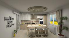 #Rendering 3D fotorealistico cucina su misura con isola centrale. #mobili #cucina #casa #arredamento