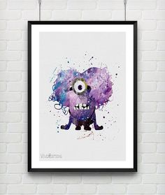 Purple Minion Despicable Me Poster Watercolor Art Print by VIVIDEDITIONS #etsy