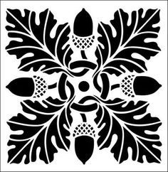 Acorn and Leaf Stencil . Tile No 13 stencil from The Stencil Library online catalogue . Leaf Stencil, Stencil Art, Stenciling, Tile Stencils, Stencil Patterns, Stencil Designs, Arabesque, Stencils Online, Acorn And Oak