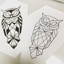 New Tattoo Geometric Owl 30 Ideas Geometric Owl Tattoo, Geometric Drawing, Geometric Art, Geometric Animal, Tattoo Abstract, Owl Tattoo Small, Small Tattoos, Dog Tattoos, Animal Tattoos