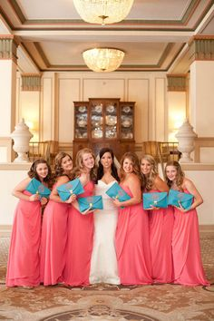 Your bridesmaids don't need to carry bouquets! Opt for bold use-again clutches instead.