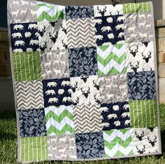 Baby Quilt Boy Deer Southwest Stag Woodland by SunnysideDesigns2